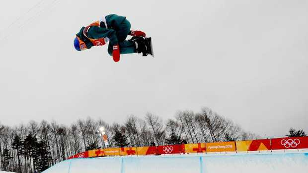 Scotty James on his first run in the men's halfpipe final on day five of the PyeongChang 2018 Winter Olympics.