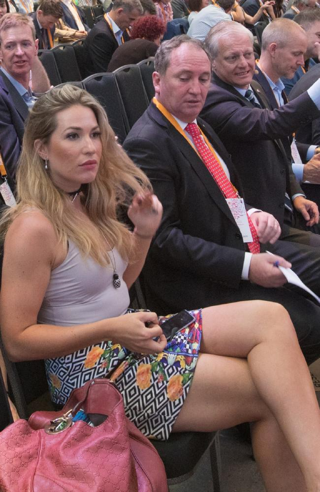 Barnaby Joyce with then media advisor and now official partner Vikki Campion at a farm summit in Sydney in 2016.