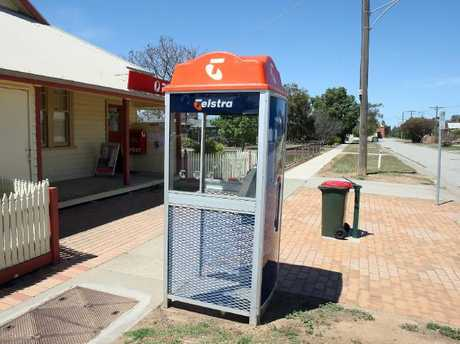 The phone at Leitchville where the last call to Krystal Fraser was made on the night of her disappearance.