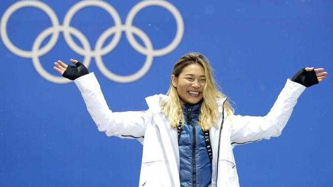 Gold medalist Chloe Kim of the US during the medal ceremony for the women's Snowboard Halfpipe event during the PyeongChang 2018 Olympic Games,