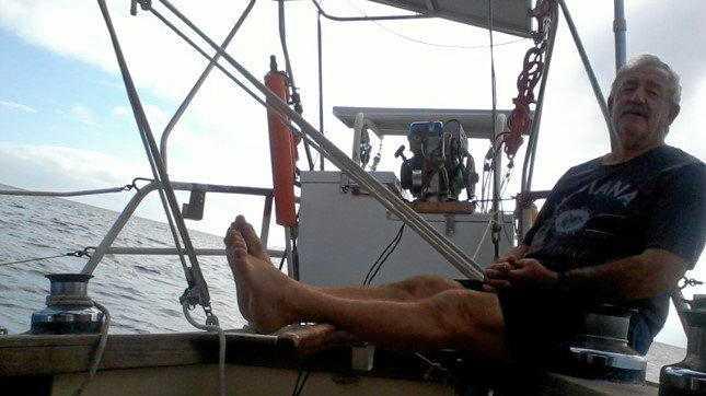 Gordon Hodgson enjoying his boat the North Star.