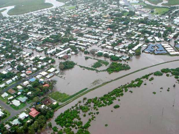 An aerial view of Mackay during the 2008 floods.  Photo Contributed