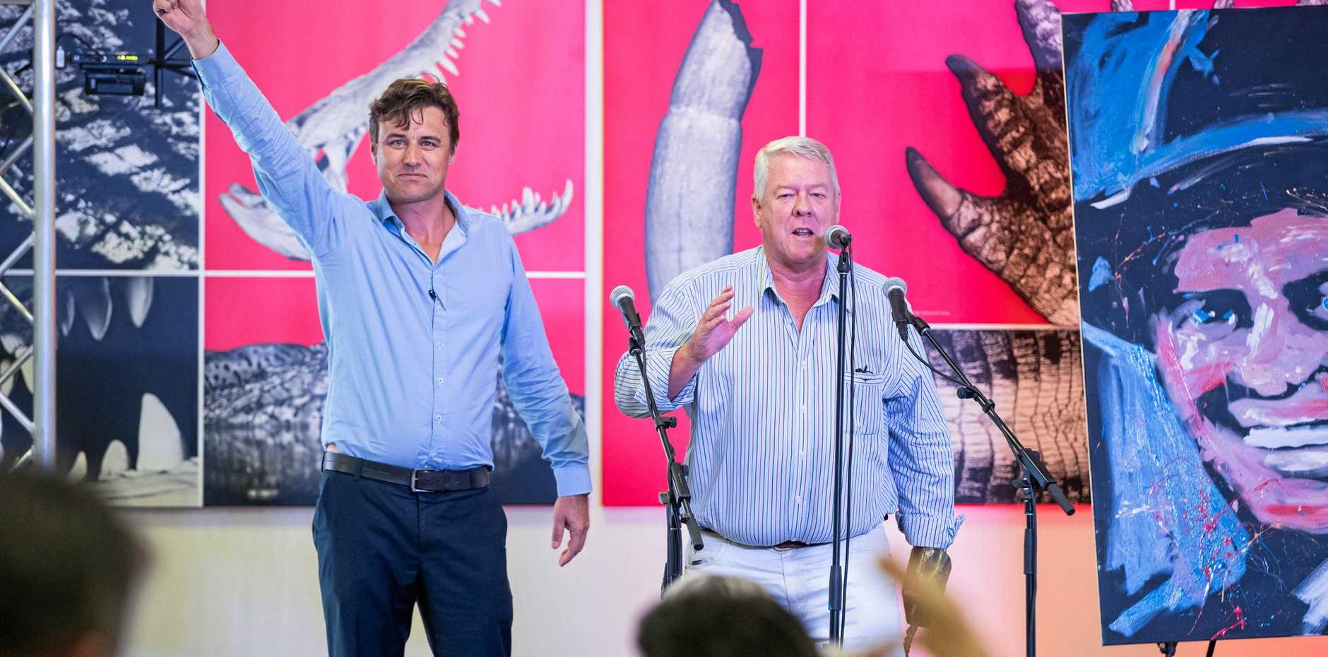 MAKING A DIFFERENCE: Auctioneer Jeremy O'Donaghue (left) on stage with John Wagner during Darwin's It's A Bloke Thing prostate cancer luncheon which raised $336,000 for Darwin's first prostate cancer nurse.