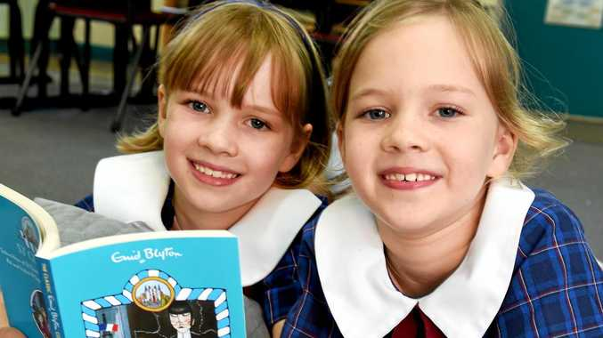 SEEING DOUBLE: Twins Jorja and Taylor Ween, read The O'Sullivan Twins at St Clare's.