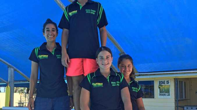 SWIM CHAMPS: Kate McDonald (13) Jacob Dewis (12), and Emily Vique (11) will compete at the Queensland State Sprints Meet this weekend, pictured with coach Jacinta Pennisi.