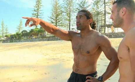 SURF DRAMA: Canberra Raiders' Iosia Soliola had to be rescued from Mooloolaba Beach yesterday.