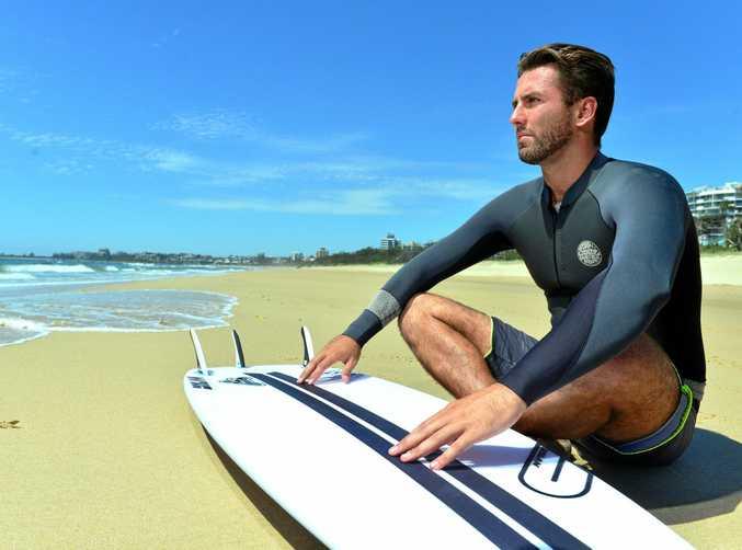 WAITING, WATCHING, HOPING: Josh Sherwell waiting for the swell to hit the Sunshine Coast.