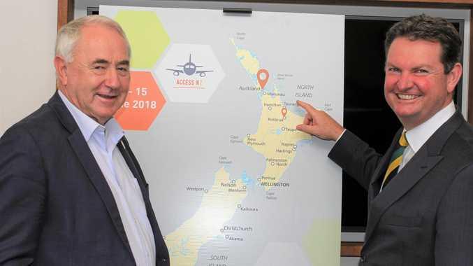 INTERNATIONAL TOUR: Toowoomba Region Mayor Paul Antonio and Toowoomba and Surat Basin Enterprise executive chairman Shane Charles. at the Access NZ launch.