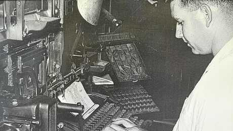 Jim Saunders operates one of the five linotypes used untill phototypesetting replaced the hot metal system in 1977.
