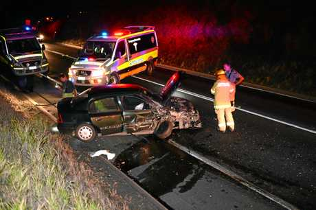 Fatal accident on the Bruce Highway in Gympie where a 50 year old man died. Photo Craig Warhurst / The Gympie Times