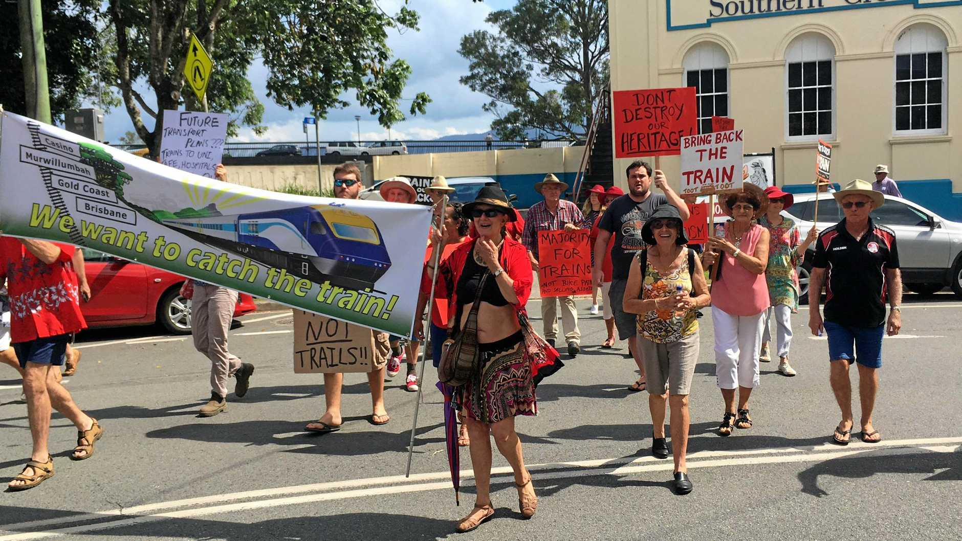 Protesters are calling for the railway to return to Murwillumbah.