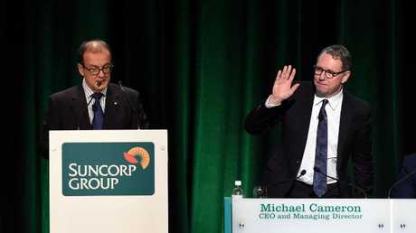 Suncorp Bank's CEO and Managing Director Michael Cameron (right) with Chairman Ziggy Switkowski. File picture: AAP Image/Dan Peled