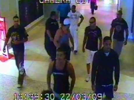 A still from CCTV footage of the fatal brawl at Sydney airport, which saw Tony Zervas stabbed and beaten to death with a bollard.