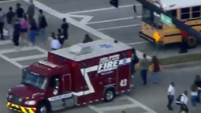 Emergency crews on the scene near Marjory Stoneman Douglas High School in Parkland. Picture: Screengrab/WSVN