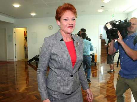 Senator Pauline Hanson at Parliament House in Canberra. Picture: Kym Smith