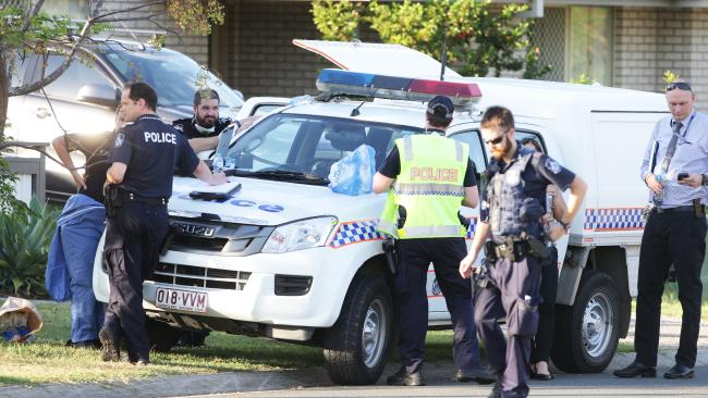 Police at the scene of the incident yesterday. Picture: Ric Frearson/AAP