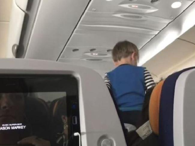 The child kept up his antics for the entire flight from Germany to the United States. Picture: AP