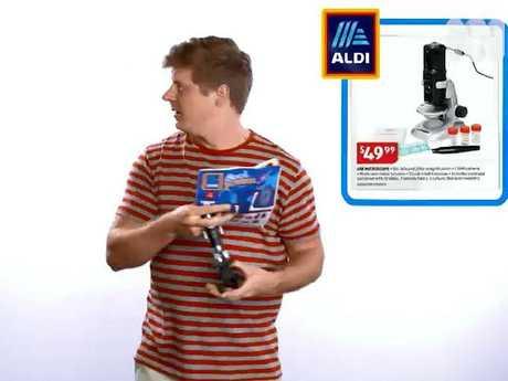 Scott Abbot riffs on the size of Aldi's fine print. Picture: ABC/The Checkout