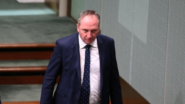 Deputy PM Barnaby Joyce in Question Time at Parliament House in Canberra yesterday as he starred down a move to replace him as Nationals leader. Picture: Kym Smith