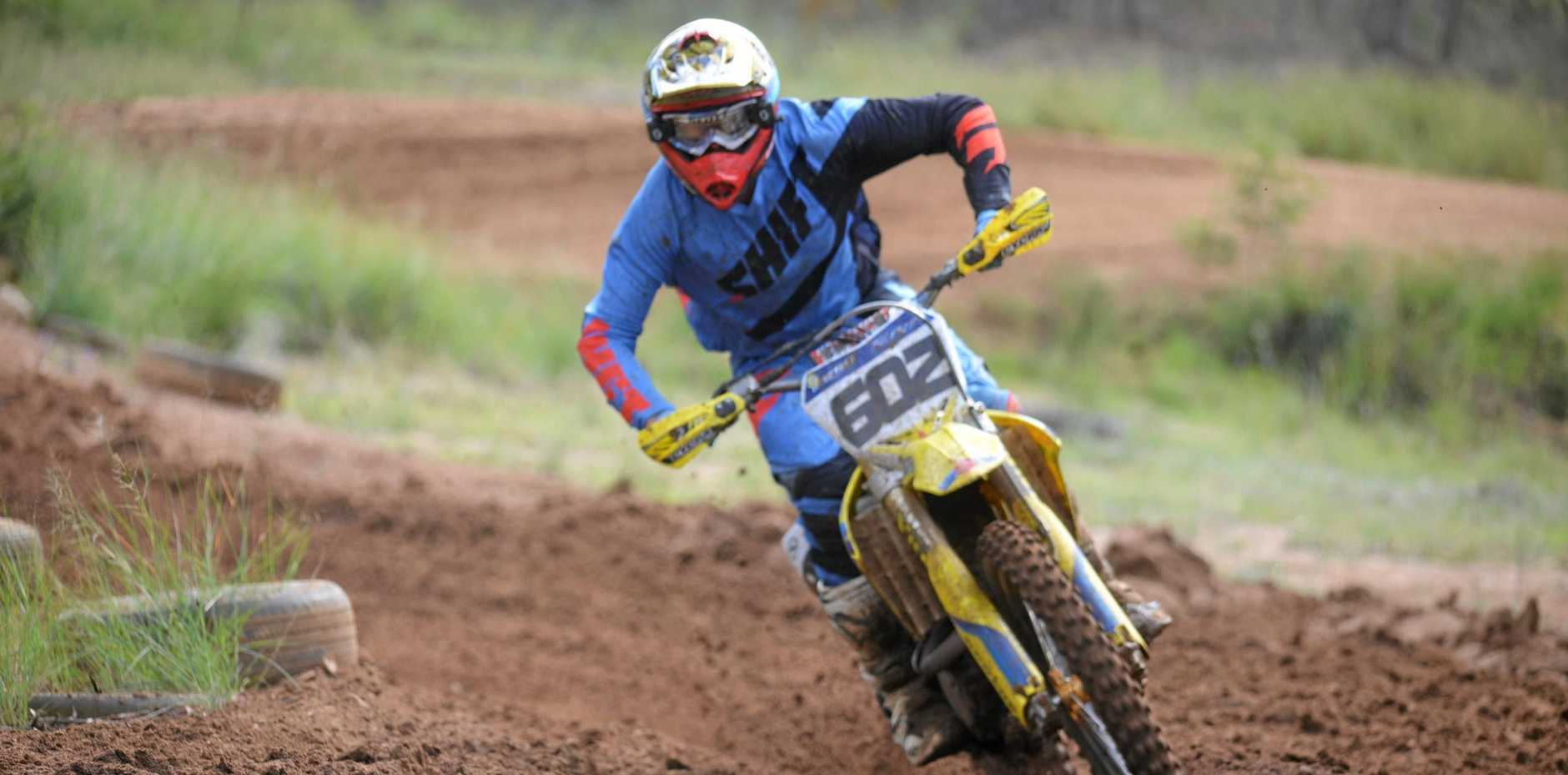 Action on a practice day at the Warwick and District Dirt Bike Club track at Morgan Park.