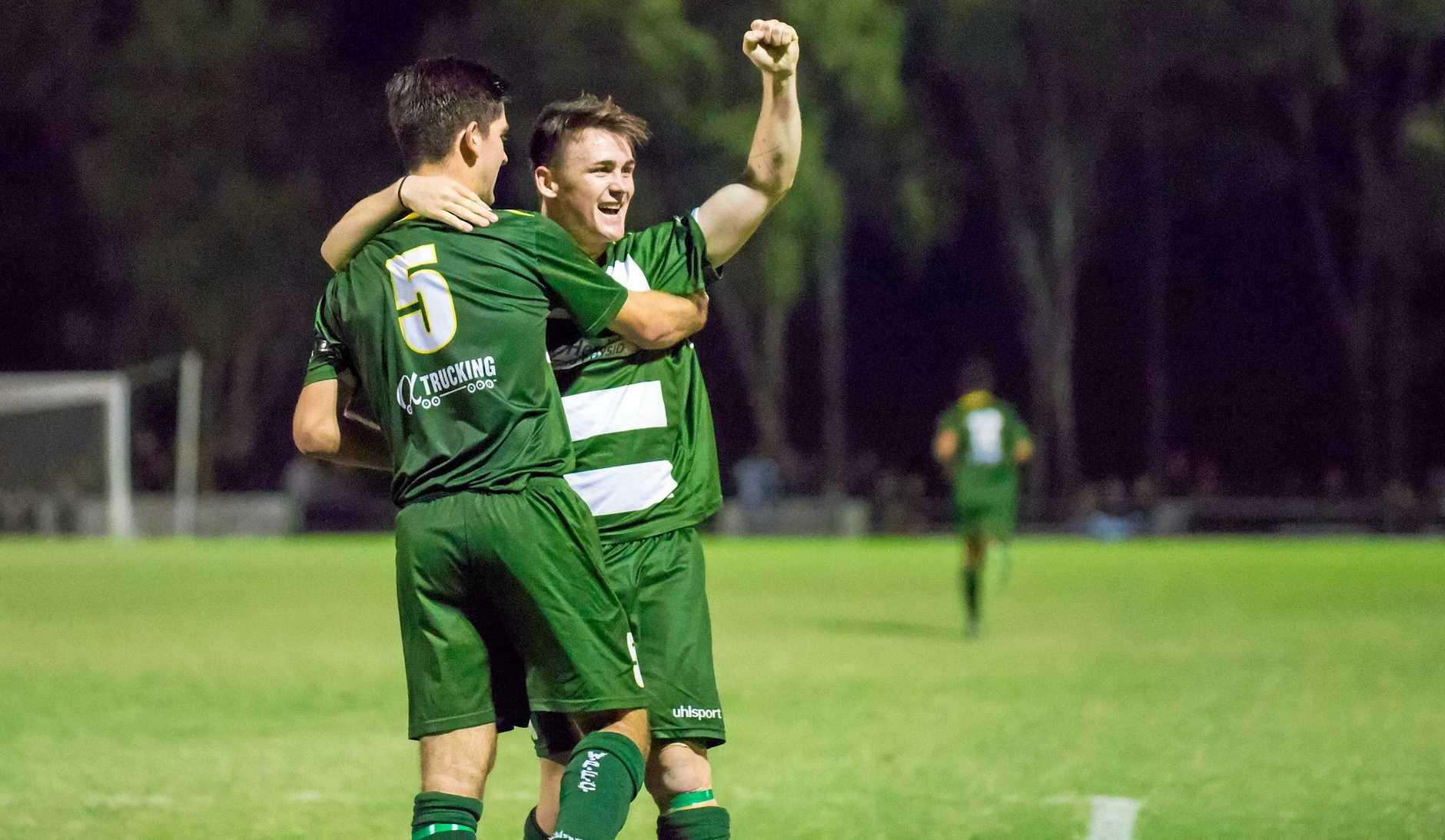 NEW GOALS: Western Pride goal scorers Cam Crestani and Dylan Wenzel-Halls savour their team's grand final victory last season.