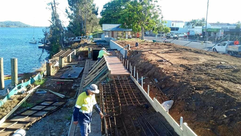 WORK IN PROGRESS: Clarence Valley Council building seating walls, steps and terraces that will complete the middle section of the levee wall at McLachlan Park in Maclean.