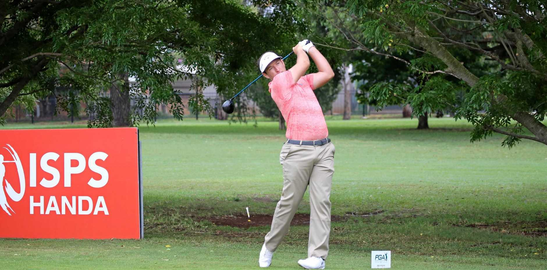 Victoria's Josh Younger on his way to a round of 64 on day two of the 2018 Coca-Cola Queensland PGA Championship at City Golf Club today.