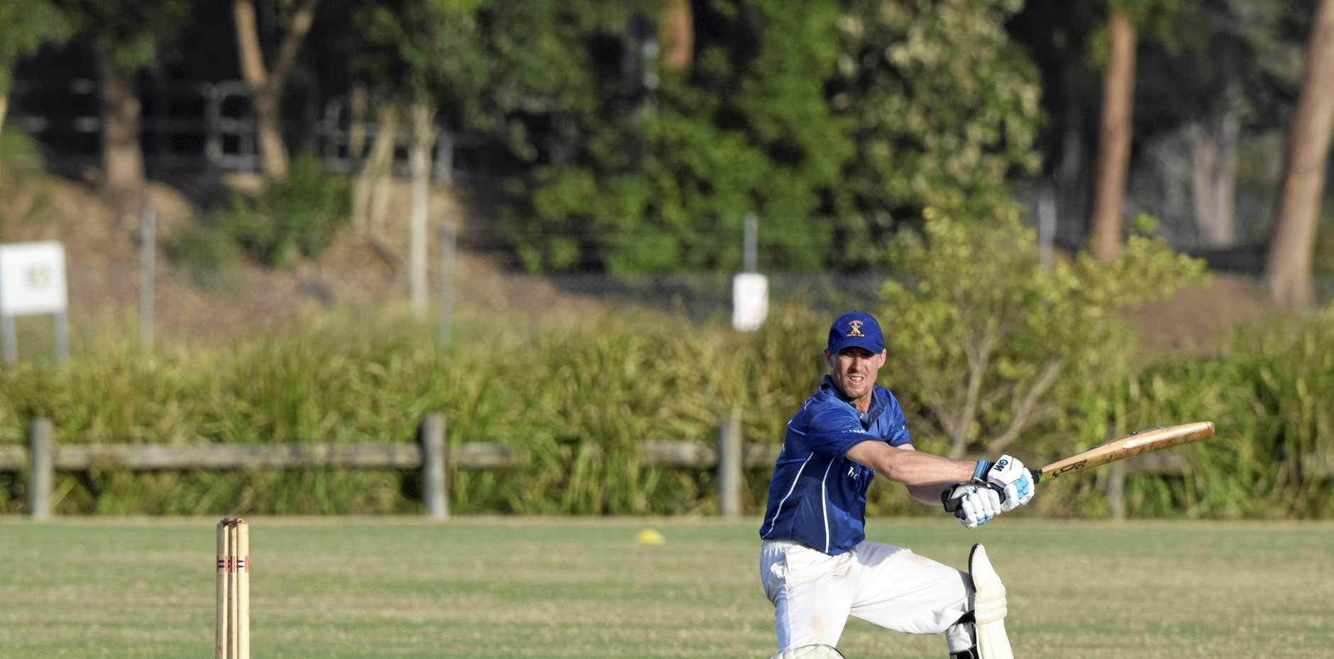Sawtell batsman Mathew Riddoch blasts over the infield during the CHDCA Twenty20 final played against the Coffs Colts.