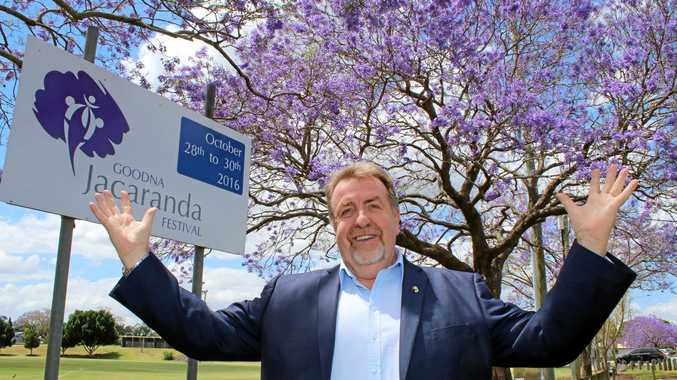 BLOOMING: Councillor Paul Tully with the Goodna jacarandas in full colour.