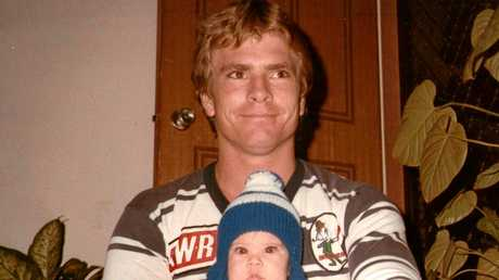 Peter Keogh in his Brothers' jersey with son Eddie in 1981.