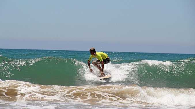 BALANCE AND CLASS: Reyce Hall negotiates waves in the Open Boys event at Agnes on Thursday.