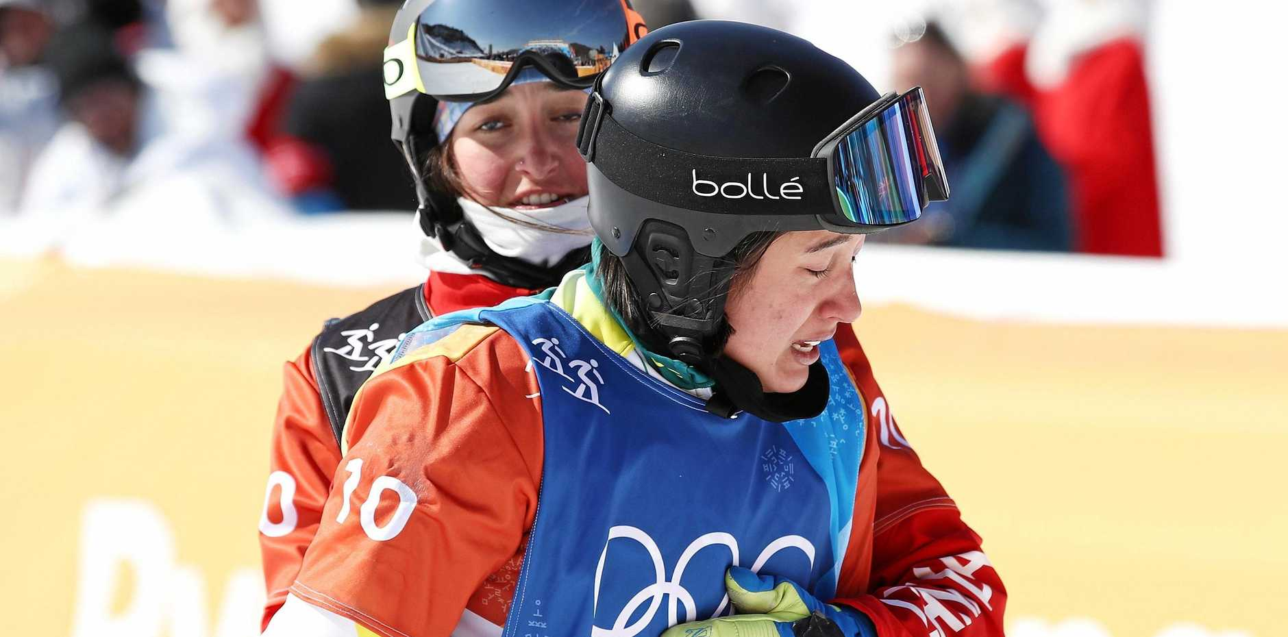SHATTERED: Belle Brockhoff after injuring her knee in the snowboard cross small final.