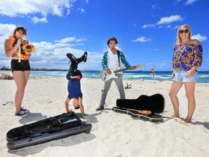 MAKING MUSIC: Getting ready to busk at Kingscliff Beach are Inari  Phillips, Jeff Dunne, Saigon Woofminh  and Rachel  Arthur.