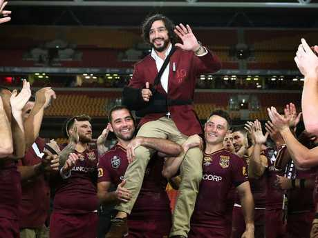 Johnathan Thurston is chaired off after the 2017 series. Picture: Brett Costello