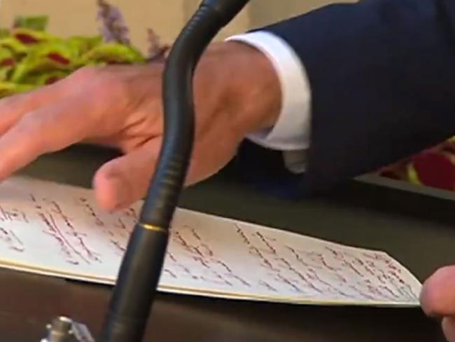 Turnbull's handwrote his speech in a furious scrawl. Picture: Channel 9