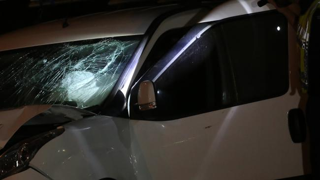 A shattered windscreen shows the impact. Picture: Tim Pascoe