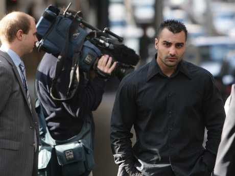 Slain bikie Mick Hawi (above) in 2009 facing court charges over the Sydney Airport brawl that created international headlines.