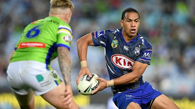 COMBATANTS: Will Hopoate of the Bulldogs against the Raiders in a match last season.