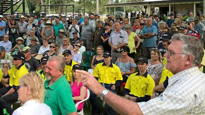 The crowd gathered in support of Widgee Engineering today.