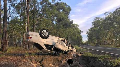SERIOUS CRASH: A driver has flipped his car onto its roof after a dramatic crash along Rosedale Rd.