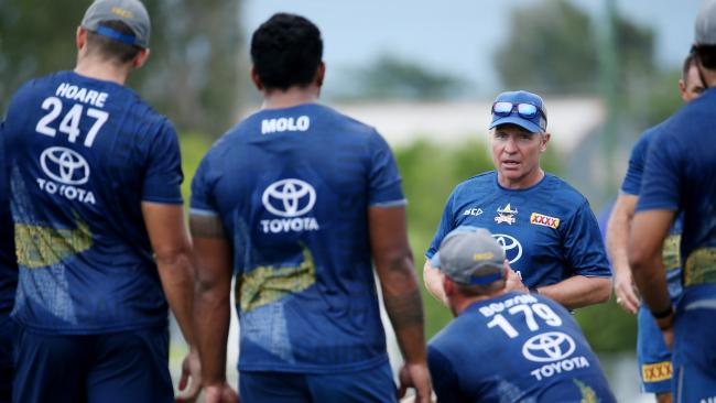 Paul Green addresses Cowboys players at training. PICTURE: STEWART MCLEAN