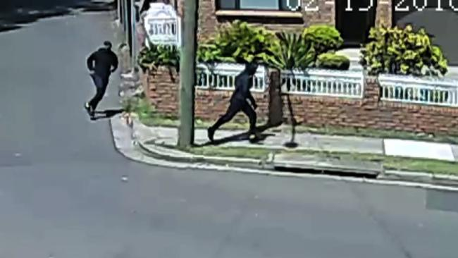 CCTV stil of two men fleeing the scene of Mick Hawi's Rockdale shooting. Picture: NSW Police.