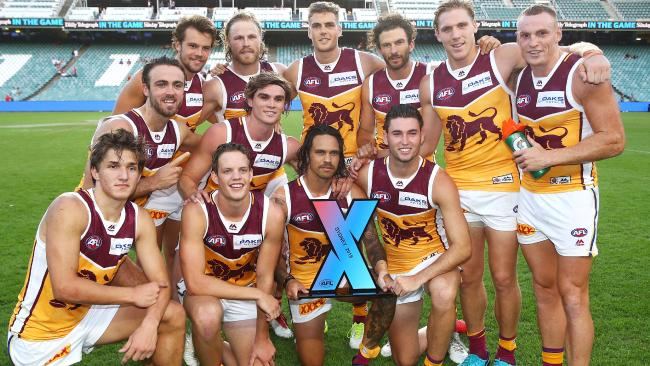 The Lions defeated the Swans in the grand final to claim the Sydney AFLX title. Picture: Getty