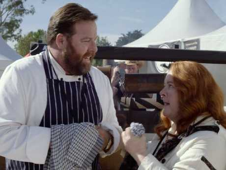 Old mates Shane Jacobson and Magda Szubanski in a scene from The BBQ.
