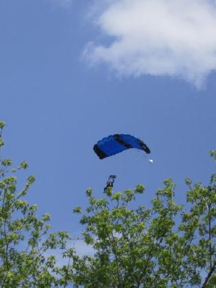 The parachute opened just before they were at tree height.