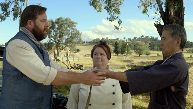 Shane Jacobson, Magda Szubanski and Kuni Hashimoto in a scene from The BBQ.