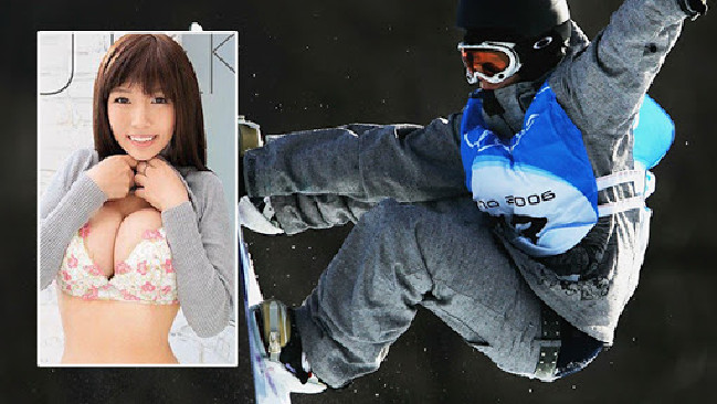 Melo Imai prepares for the 2006 Winter Olympics and inset, smiles on the cover of her pornographic film Snow Drop.