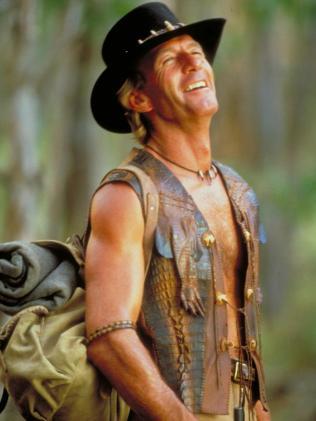 Paul Hogan as Crocodile Dundee.