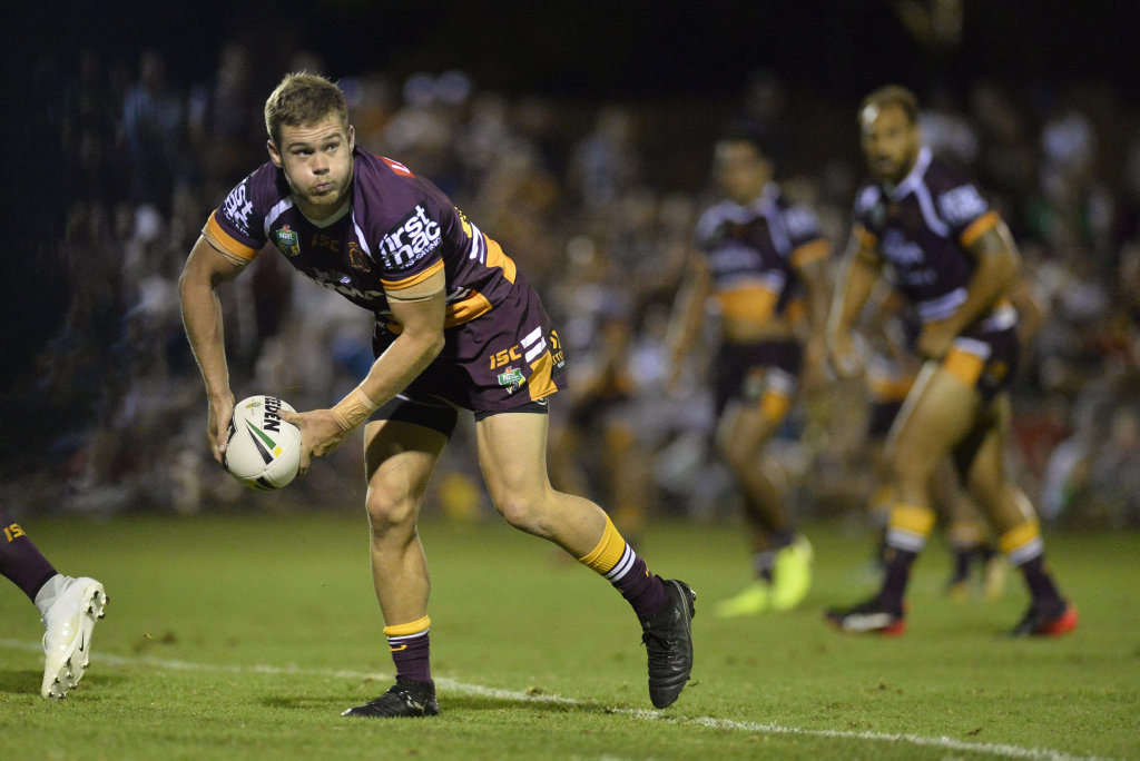 Image for sale: Sam Scarlett of Brisbane Broncos against Gold Coast Titans in NRL pre-season trial at Clive Berghofer Stadium, Saturday, February 17, 2018.