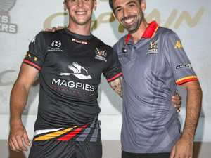 Magpies Crusaders United FC captain Michael Lyall and head coach Carlos Garcia Alejos.